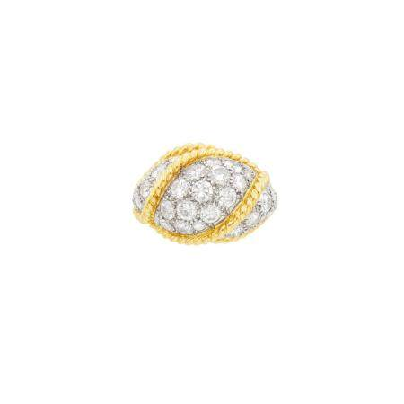 Gold, Platinum and Diamond Dome Ring