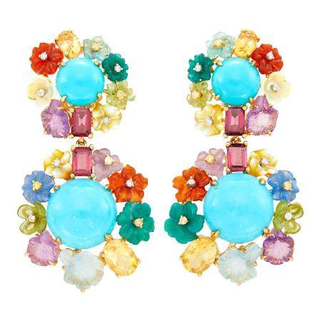 Pair of Gold, Turquoise, Carved Colored Stone and Diamond Pe
