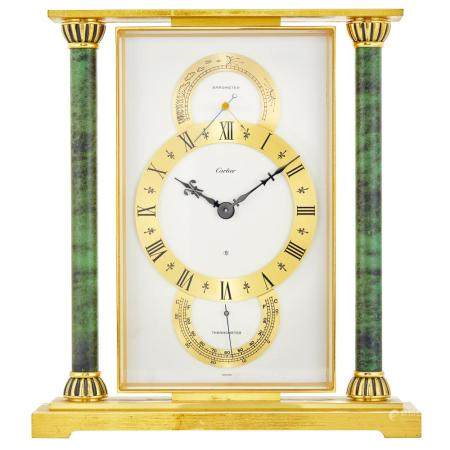 Cartier Gilt-Metal and Faux Marble Mantle Clock