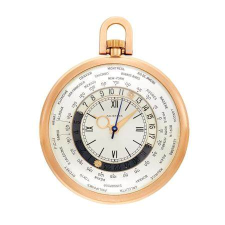 Agassiz Rose Gold Open Face 'World Time' Open Face Pocket Wa