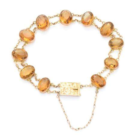 An early 20th century citrine bracelet,