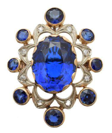 A synthetic spinel, sapphire and diamond brooch,