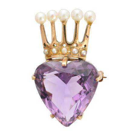 A 9ct gold amethyst and pearl brooch,