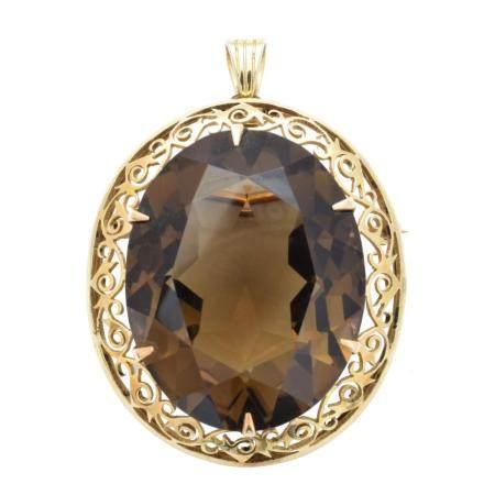 A smoky quartz brooch,