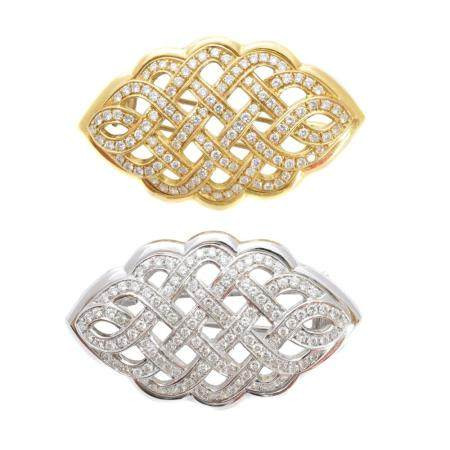 A pair of diamond brooches,