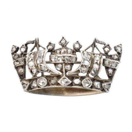 A diamond naval crown brooch,