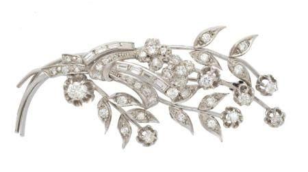 A diamond floral spray brooch,