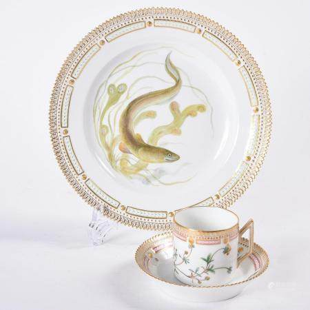 Royal Copenhagen Flora Danica Plate, Cup, and Saucer.