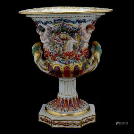 German Porcelain Capodimonte Style Two-Handled Vase.