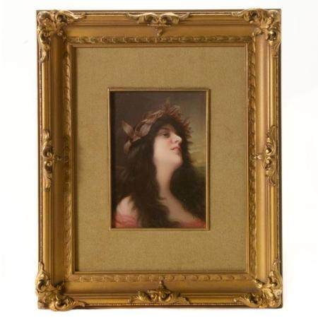 Wagner KPM Framed Porcelain Plaque.