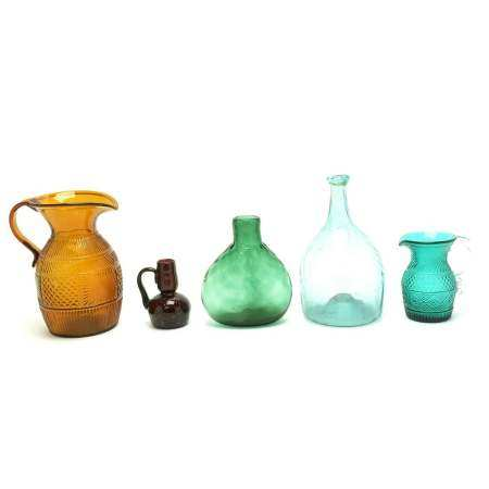 Five American Blown Glass and Blown Moulded Flasks and