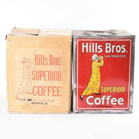 Hills Bros. 50 Pound Coffee Tin with Original Box.