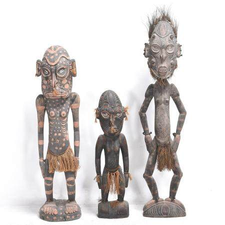 Three South Pacific Carved and Painted Wood Standing