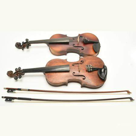 Two Violins with Stradivarius Labels and Two Bows.