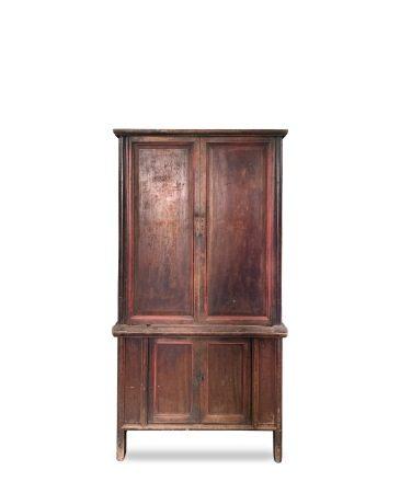 清代 朱漆 上下木櫃