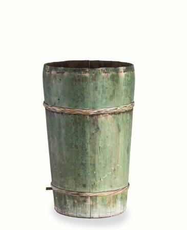 清代 礦物彩杉木桶