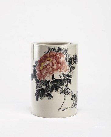 吳平繪 墨梅牡丹瓷瓶