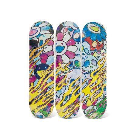 村上隆 火焰骷髏 楓木滑板 三片、楓木滑板 三片