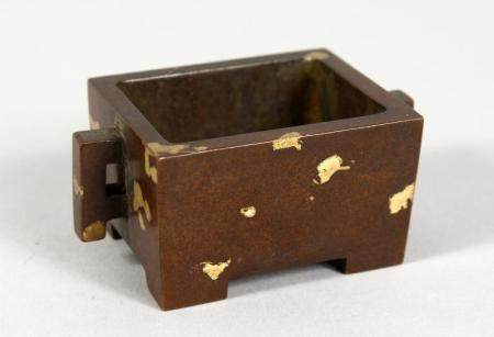 A CHINESE MINIATURE RECTANGULAR GOLD SPLASH BRONZE CENSER. 2