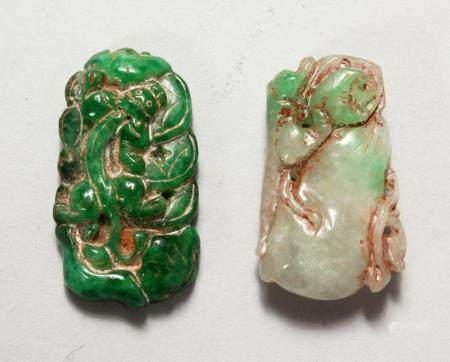 TWO CHINESE CARVED JADE PENDANTS. 2ins and 2.25ins high.