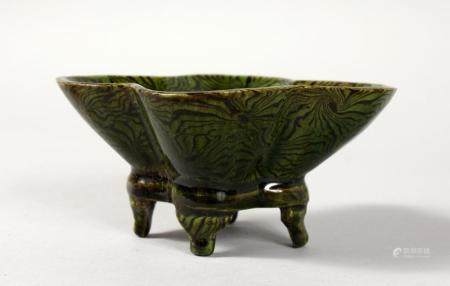 AN SMALL UNUSUAL CHINESE GREEN GLAZED POTTERY LOTUS FORM CEN