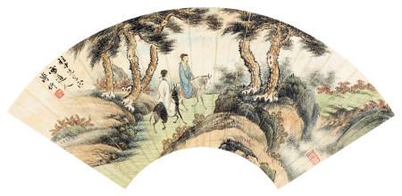 溥伒(1893~1966) 1946年作 散骑图 镜片 设色纸本