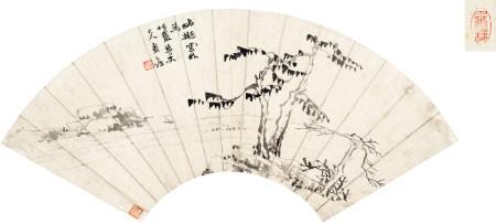 赵之谦(1829~1884) 拟倪云林山水 镜片 水墨纸本