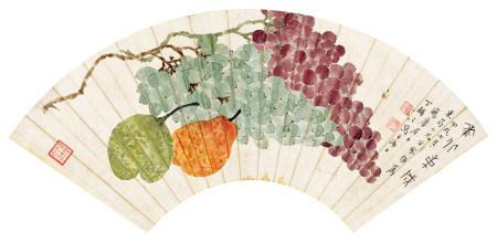 丁辅之(1879~1949) 1934年作 果蔬图 镜片 设色纸本
