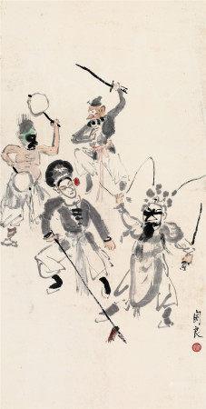 关良(1900~1986) 武剧图 立轴 设色纸本