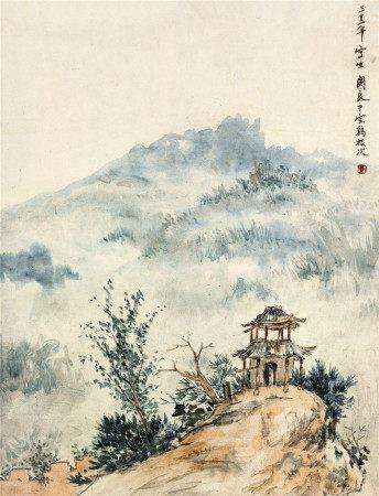 关良(1900~1986) 1943年作 宝鸡小景 立轴 设色纸本