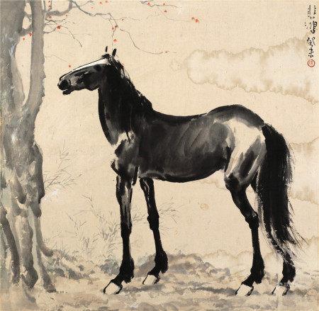 徐悲鸿(1895~1953) 1943年作 马 镜片 设色纸本