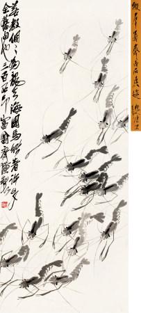 齐白石(1864~1957) 虾群图 立轴 水墨纸本