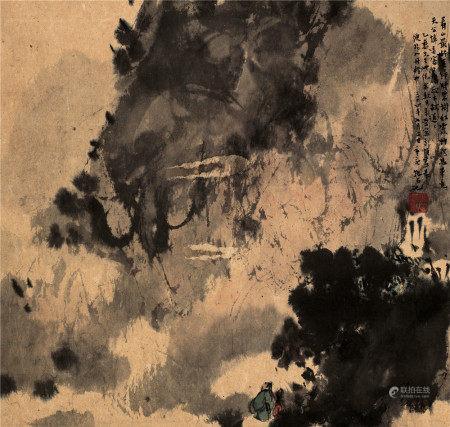 傅抱石(1904~1965) 1945年作 乙黎先生诗意图Ⅱ 立轴 设色纸本
