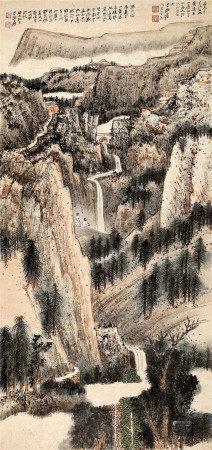 张大千(1899~1983) 1943年作 高崖梵宇 立轴 设色纸本