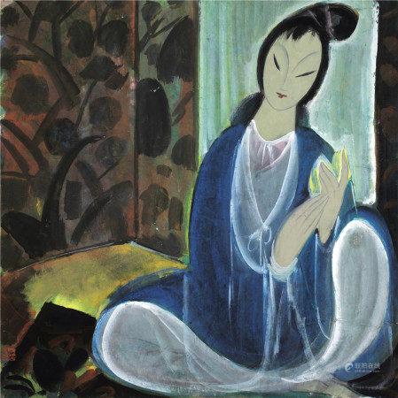 林风眠(1900~1991) 执花仕女 镜片 设色纸本