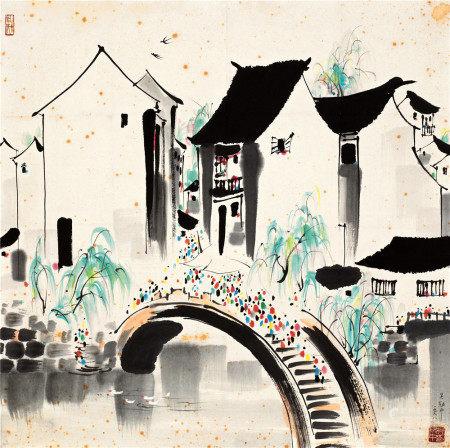 吴冠中(1919~2010) 1988年作 江南人家 镜片 设色纸本