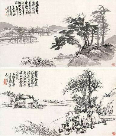 吴昌硕(1844~1927) 1915年作 菰芦独钓对屏 镜片 水墨绫本