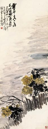 吴昌硕(1844~1927) 1906年作 傲雪图 立轴 设色纸本