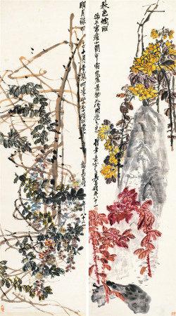 吴昌硕(1844~1927) 1924年作 春华秋实花卉对屏 镜片 设色纸本