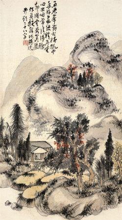 蒲华(1832~1911) 深山悟道 立轴 设色纸本