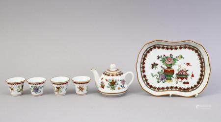 A 20TH CENTURY CHINESE FAMILLE ROSE TEA SET & TRAY, the set