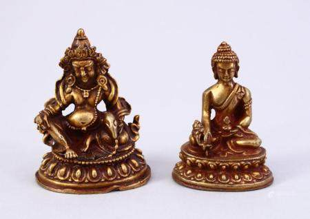 TWO CHINESE GILT BRONZE FIGURES OF DEITY / BUDDHA, both in s