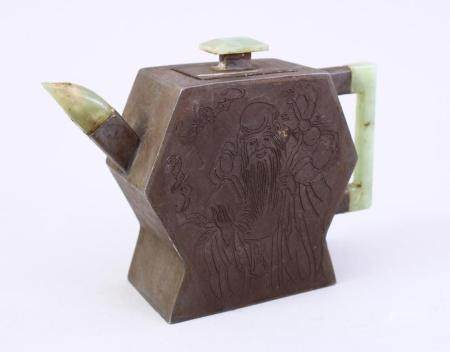 A CHINESE ZINN & JADE TEAPOT, the body of the pot decorated