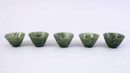 FIVE GOOD CHINESE CARVED SPINACH JADE BOWLS, 5CM.