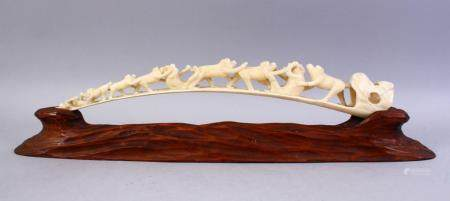 A JAPANESE MEIJI PERIOD CARVED MONKEY BRIDGE GROUP & STAND,