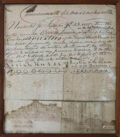 Nantucket, September 9th 1835 Deed of Purchase of Land from