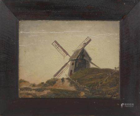 "Wendell Macy Oil on Door Panel ""Old Mill – Nantucket"", circa"