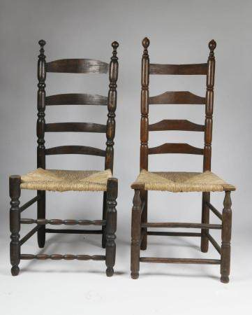 Two Nantucket Rush Seat Side Chairs, 18th Century