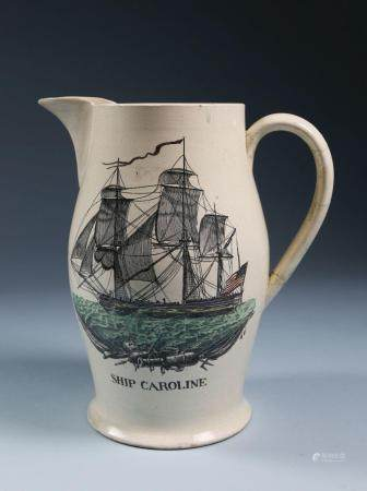 "Creamware Liverpool Jug of the American ""Ship Caroline"", cir"