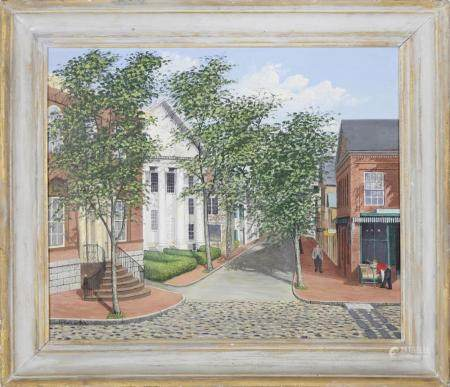 "Julian Yates Oil on Canvas ""Center and Main Street - Nantuck"